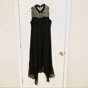 BCBGENERATION Black Collar Mesh Maxi Dress
